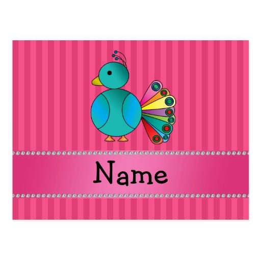 Rayas conocidas personalizadas del rosa del pavo r tarjeta postal