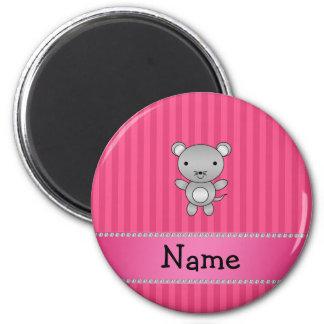 Rayas conocidas personalizadas del rosa del ratón iman de nevera