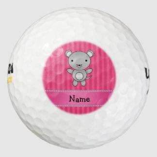 Rayas conocidas personalizadas del rosa del ratón pack de pelotas de golf