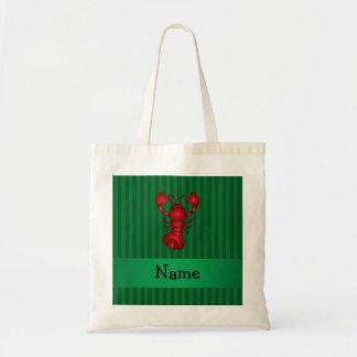 Rayas conocidas personalizadas del verde de la lan bolsa lienzo