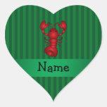 Rayas conocidas personalizadas del verde de la calcomanía corazón