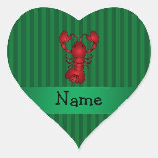 Rayas conocidas personalizadas del verde de la pegatina en forma de corazón