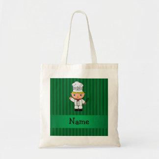 Rayas conocidas personalizadas del verde del cocin bolsa de mano
