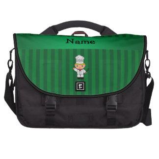 Rayas conocidas personalizadas del verde del cocin bolsas de portatil