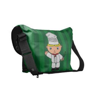 Rayas conocidas personalizadas del verde del cocin bolsas de mensajeria