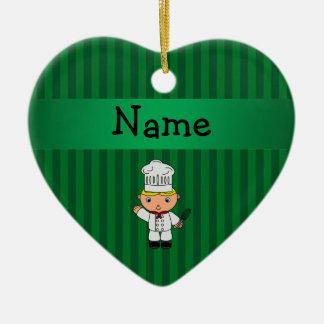Rayas conocidas personalizadas del verde del cocin adorno