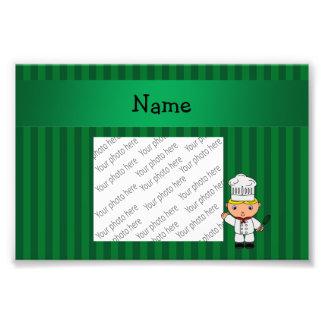 Rayas conocidas personalizadas del verde del cocin impresión fotográfica