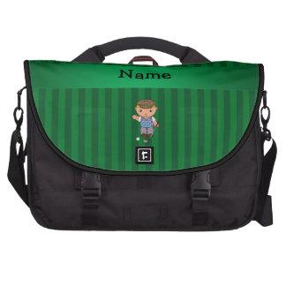 Rayas conocidas personalizadas del verde del jugad bolsas para portátil