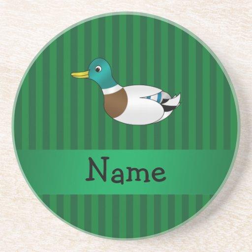 Rayas conocidas personalizadas del verde del pato  posavasos para bebidas