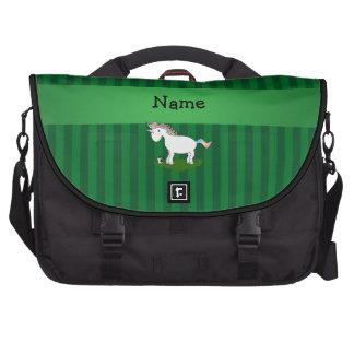 Rayas conocidas personalizadas del verde del unico bolsas de portatil