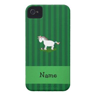 Rayas conocidas personalizadas del verde del unico Case-Mate iPhone 4 fundas