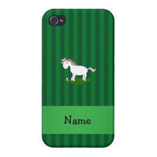 Rayas conocidas personalizadas del verde del unico iPhone 4/4S carcasa