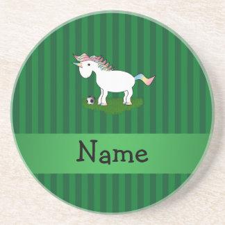 Rayas conocidas personalizadas del verde del unico posavaso para bebida
