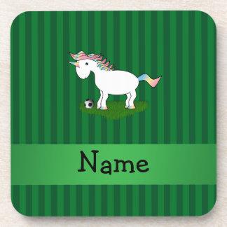 Rayas conocidas personalizadas del verde del unico posavasos