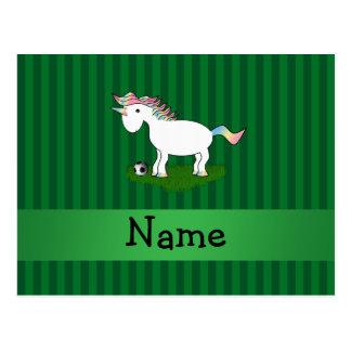 Rayas conocidas personalizadas del verde del unico tarjetas postales