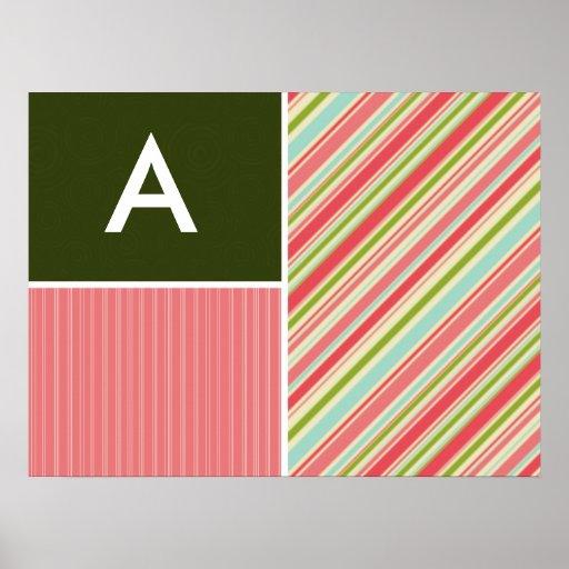 Rayas coralinas y verdes; Rayado Posters