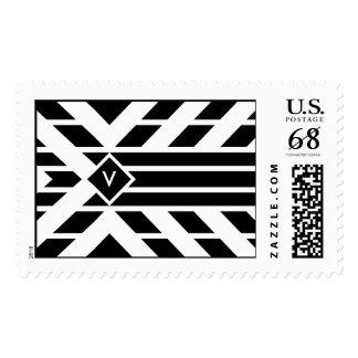 Rayas cuadriláteras negras con el monograma - timbres postales