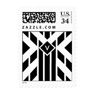 Rayas cuadriláteras negras con el monograma timbres postales