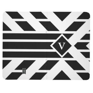Rayas cuadriláteras negras en blanco con el cuadernos