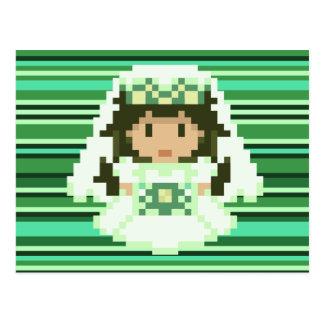 rayas de 8 bits del verde de la novia del pixel postal