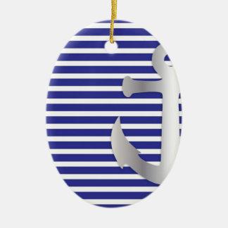 Rayas de Aziza y marinero azul marino Adorno Ovalado De Cerámica