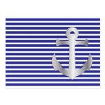 Rayas de Aziza y marinero azul marino Postal