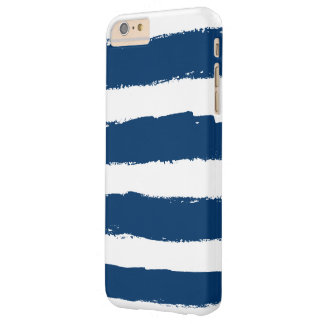 Rayas de azules marinos blancas del Grunge Funda De iPhone 6 Plus Barely There