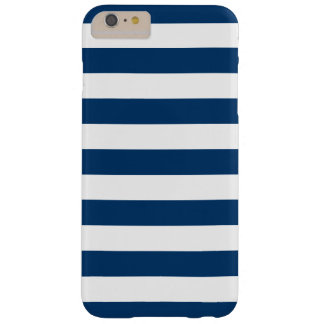 Rayas de azules marinos blancas intrépidas funda de iPhone 6 plus barely there
