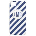 Rayas de azules marinos con el monograma de encarg iPhone 5 carcasas