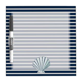 Rayas de azules marinos de Shell del mar Tableros Blancos