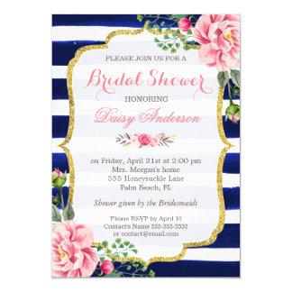 """Rayas de azules marinos florales de la acuarela invitación 5"""" x 7"""""""