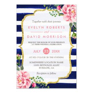 """Rayas de azules marinos florales del rosa de la invitación 5"""" x 7"""""""