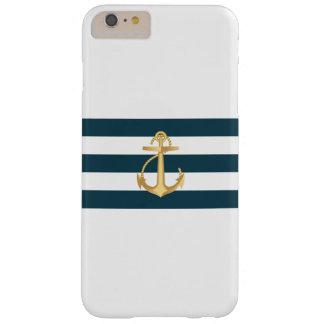 Rayas de azules marinos náuticas del ancla del oro funda de iPhone 6 plus barely there