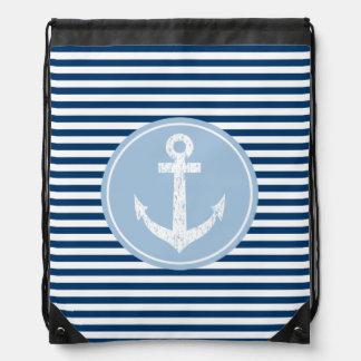 Rayas de azules marinos náuticas del bolso de lazo mochila