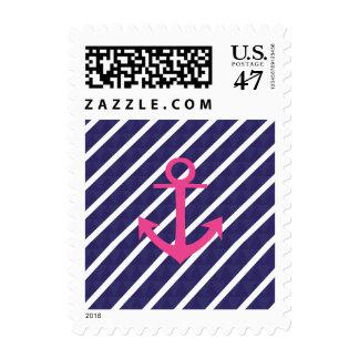 Rayas de azules marinos y diseño del ancla de las sellos