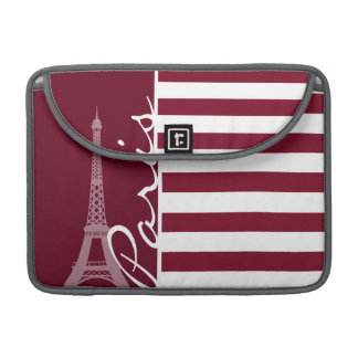 Rayas de Borgoña; Torre Eiffel Fundas Para Macbooks
