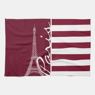 Rayas de Borgoña Torre Eiffel Toallas