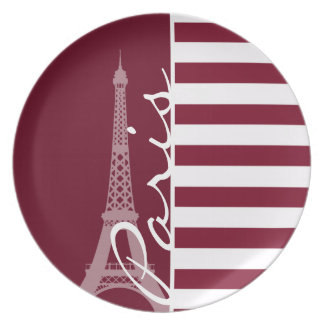 Rayas de Borgoña; Torre Eiffel Plato De Comida