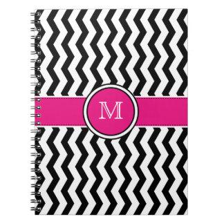 Rayas de Chevron del monograma con el cuaderno esp