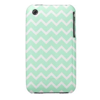 Rayas de Chevron del zigzag de la verde menta Case-Mate iPhone 3 Funda