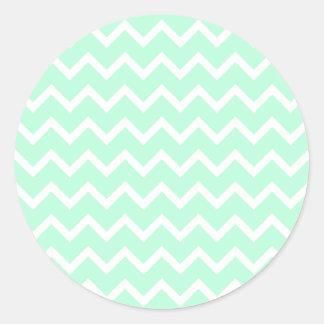 Rayas de Chevron del zigzag de la verde menta Etiqueta