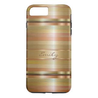 Rayas de cobre y metálicas del oro funda iPhone 7 plus