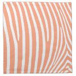 Rayas de color salmón ligeras de la cebra servilleta de papel