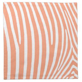 Rayas de color salmón ligeras de la cebra servilleta imprimida