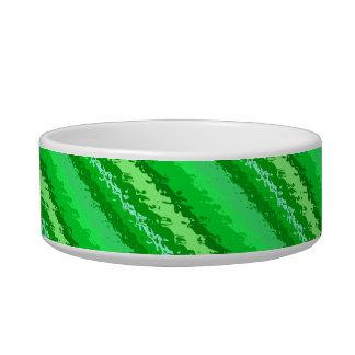 Rayas de cristal - sombras del verde esmeralda tazon para gato