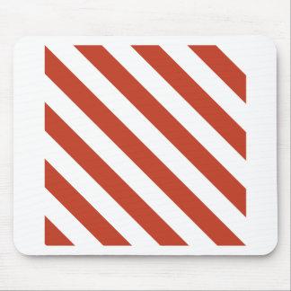 Rayas de Diag - blancas y rojo en colores pastel Alfombrillas De Raton