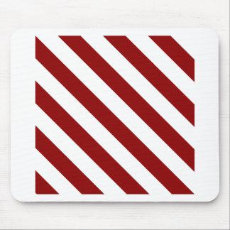 Rayas de Diag - blancas y rojo oscuro Tapetes De Raton
