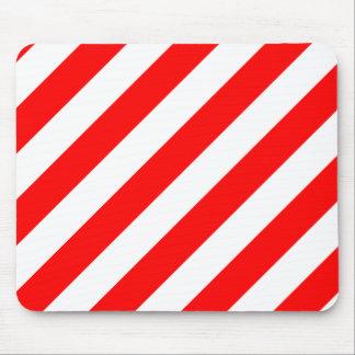 Rayas de Diag - blanco y rojo Alfombrillas De Raton