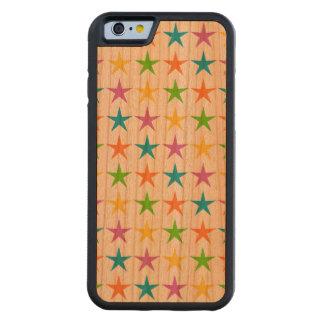 Rayas de estrellas funda de iPhone 6 bumper cerezo