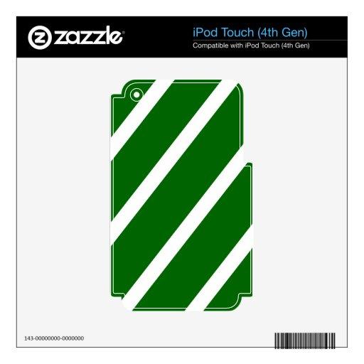 Rayas de Forest Green Calcomanías Para iPod Touch 4G